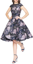Mac Duggal 6-Week Shipping Lead Time Bejeweled Boat-Neck Cap-Sleeve Floral-Print Fit-&-Flare Dress
