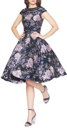 Mac Duggal Bejeweled Boat-Neck Cap-Sleeve Floral-Print Fit-&-Flare Dress