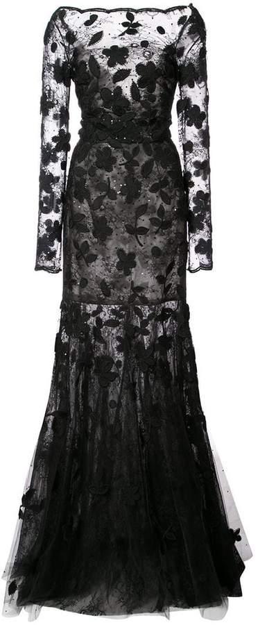 Oscar de la Renta floral-appliquéd lace gown