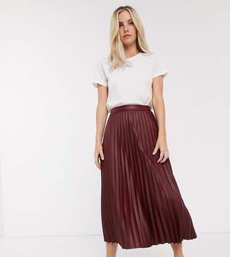 Asos DESIGN Petite leather look pleated midi skirt-Red