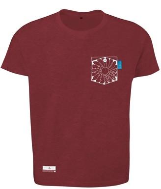 Anchor & Crew Fire Brick Red Explorer Print Organic Cotton T-Shirt Mens