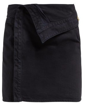 Jacquemus La Mini Asymmetric Denim Skirt - Womens - Navy