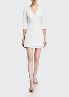 Alice + Olivia Stevie Double-Layer Dress w/ Waist Tie