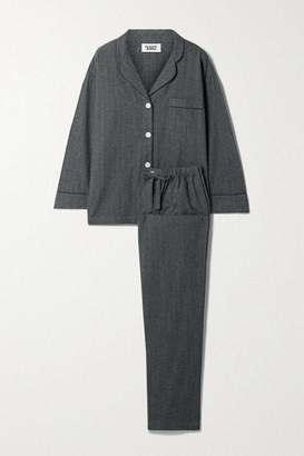 Sleepy Jones Marina Pinstriped Cotton-flannel Pajama Set - Anthracite
