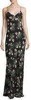 Vilshenko Floral Cloud-Print Silk Cami Gown, Black/Multi