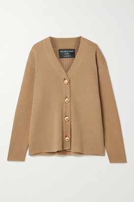 Mother of Pearl Charlotte Ribbed Organic Cotton And Wool-blend Cardigan - Camel