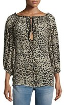 Roberto Cavalli 3/4-Sleeve Leopard-Print Peasant Blouse, Brown/Black