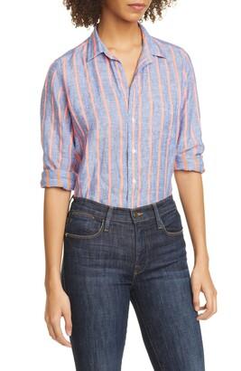Frank And Eileen Barry Stripe Linen Blend Shirt