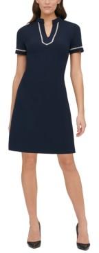 Tommy Hilfiger Short-Sleeve Lace-Trim Sheath Dress