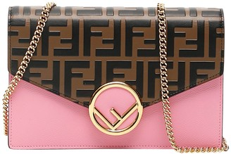 Fendi Pink And Brown Mini Wallet On Chain