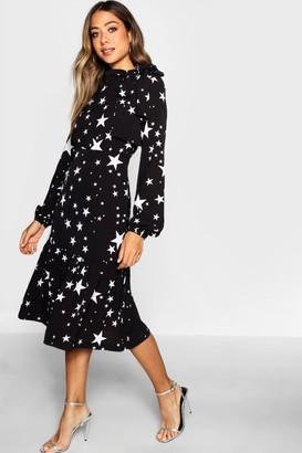 boohoo Tie Neck Star Print Midi Dress
