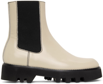 J.W.Anderson Off-White Logo Chelsea Boots