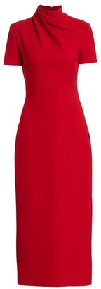 Brandon Maxwell Wrapped Wool Crepe Sheath Dress