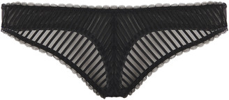 Les Girls Les Boys Striped Stretch-tulle Mid-rise Thong
