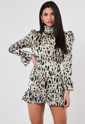 Missguided Petite Cream Satin Dalmatian High Neck Smock Dress
