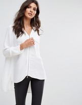 French Connection Belle Spot Zip Thru Blouse