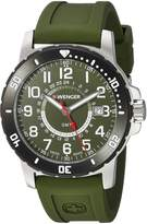 Wenger Men's 'Off Road GMT' Swiss Quartz Stainless Steel and Silicone Casual Watch, Color:Green (Model: 01.1342.104)