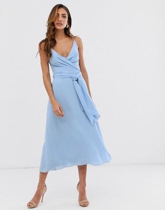 Asos Design DESIGN cami wrap midi dress with tie waist-Blue