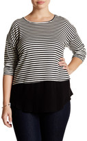 Hip Long Sleeve Contrast Hem Stripe Tee (Plus Size)