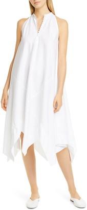 Rosetta Getty Handkerchief Hem Poplin Trapeze Dress