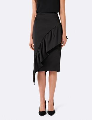 Forever New Olivia Asymmetric Frill Midi Skirt - Black - 4