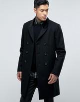 Asos Wool Mix Overcoat with Velvet Collar in Black