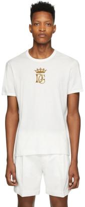 Dolce & Gabbana White Embroidered Logo T-Shirt