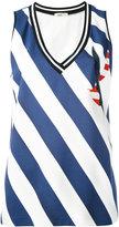 Iceberg embellished striped tank - women - Polyester/Spandex/Elastane/Viscose - 42