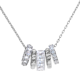 Bliss Sterling Silver & Cubic Zirconia Rondelle Pendant Necklace