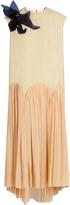 DELPOZO Floral-brooch sleeveless crepe dress