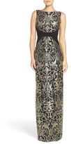 Adrianna Papell Embroidered Jersey Column Gown