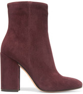 Gianvito Rossi Suede Ankle Boots - Claret