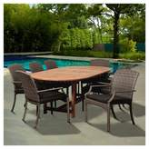 Household Essentials Amazonia Sandestin 9pc Eucalyptus/Wicker Extendable Oval Patio Dining Set - Gray