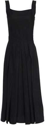 McQ Tie-back Pleated Linen-blend Midi Dress