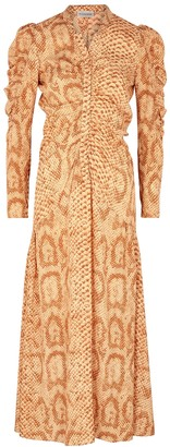 By Malene Birger Cles Python-print Ruched Midi Dress