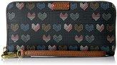 Fossil Emma Rfid Large Zip Wallet-Hearts
