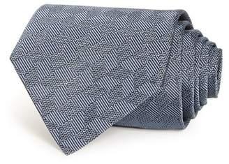 Giorgio Armani Stripe & Chevron Grid Silk Wide Tie