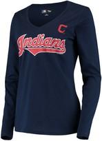 G Iii Women's G-III 4Her by Carl Banks Navy Cleveland Indians Post Season Long Sleeve T-Shirt