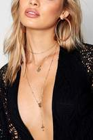 boohoo Lea Coin & Cross Layered Plunge Necklace