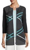 Misook Contrast-Sleeve Open Jacket, Plus Size