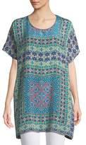 Tolani Tiffany Printed Silk Tunic w/ Keyhole Back, Plus Size