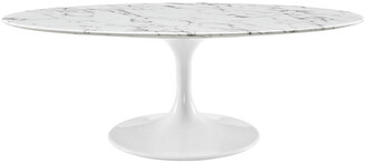 Modway Lippa 48In Oval-Shaped Artificial Marble Coffee Table