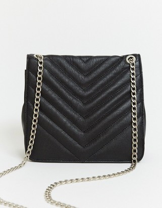 Urban Code Urbancode quilted leather bag with chain strap in black