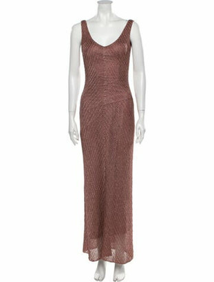 Carmen Marc Valvo Printed Long Dress Metallic