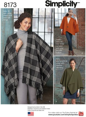 Simplicity Misses' Women's Poncho Sewing Pattern, 8173