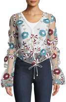 Tularosa Ava Sheer Floral Embroidered Top