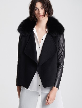 Halston Leather Sleeve Fur Collar Jacket