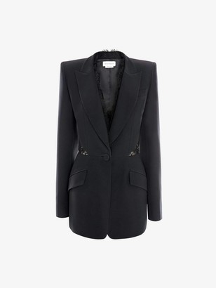 Alexander McQueen Lace Leaf Crepe Jacket