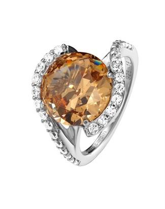 Pierre Cardin Saint Ambroise PCRG90427A160 Women's Ring 925 Silver Brilliant Cut Zirconia Size 50 (15.9) 53 (16.9) Silver/orange