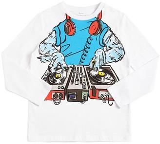Stella Mccartney Kids Dj Print Organic Cotton Jersey T-shirt